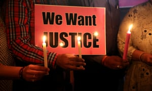 A candlelight vigil and protest against gang-rape in Bhopal.
