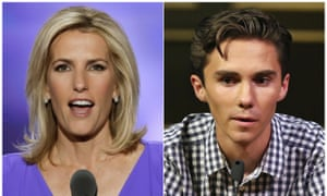 Laura Ingraham and David Hogg. Advertisers are dropping Fox News host Ingraham after she criticised Hogg, a survivor of the Florida school shooting, on social media.