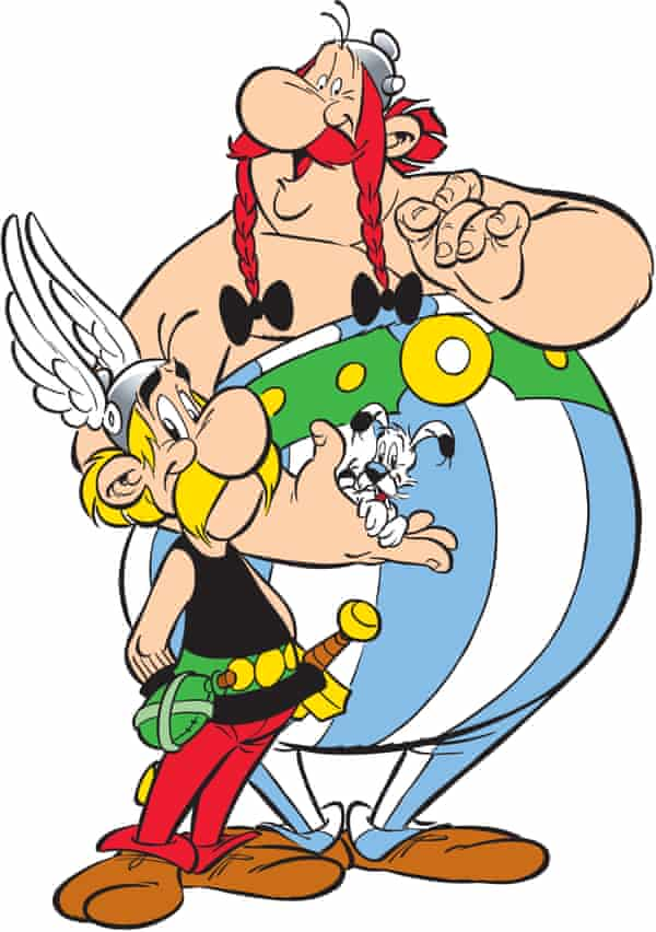 Asterix, left, with Obelix and Dogmatix. Anthea Bell changed the name of Obelix's small, evil-tempered dog from Idéfix to Dogmatix and named the local druid Getafix.