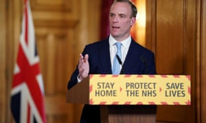 British Foreign Secretary Dominic Raab speaks at a COVID-19 digital press conference in London, Britain, on 6 April.