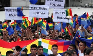 "Hundreds of students participate in a march called by schools to demand ""sea for Bolivia"" in La Paz, Bolivia on 20 March 2018."