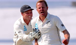Wicketkeeper BJ Watling rushes to congratulate Neil Wagner after a wicket in the first Test