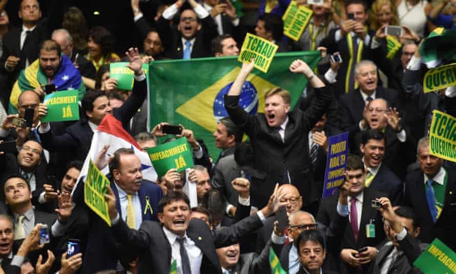 Brazilian politicians celebrate impeachment vote