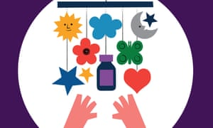 illustration of a bottle looking like CALPOL hanging from a child's mobile