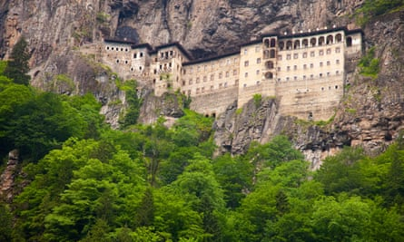 The Sumela monastery, one of the oldest Greek Orthodox foundations in the world, hewn out of a mountain rock face in the Maçka district of Turkey.