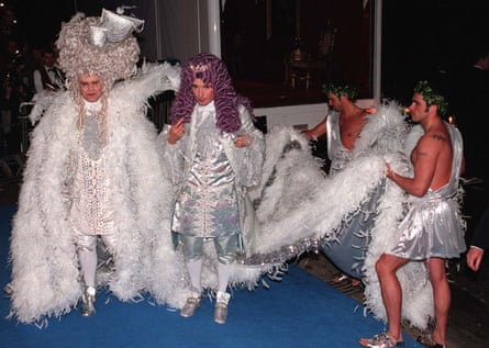 Birthday bash: Elton John and David Furnish attend his 50th party at the Hammersmith Palais in London, 1997.