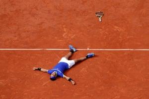 Nadal celebrates winning the final.