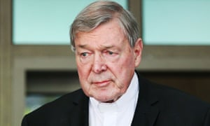 George Pell leaves at Melbourne magistrates court in May last year