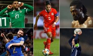 Clockwise from top left: Josh Magennis, Ashley Williams, Emmanuel Adebayor, Andy Robertson and Olivier Giroud.