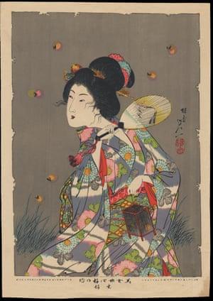 Love of fireflies by Yosai Nobukazu (lithograph 1896)
