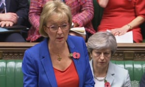 Theresa May (right) listens as Andrea Leadsom responds to an urgent question in the House of Commons about allegations of inappropriate sexual behaviour at Westminster.