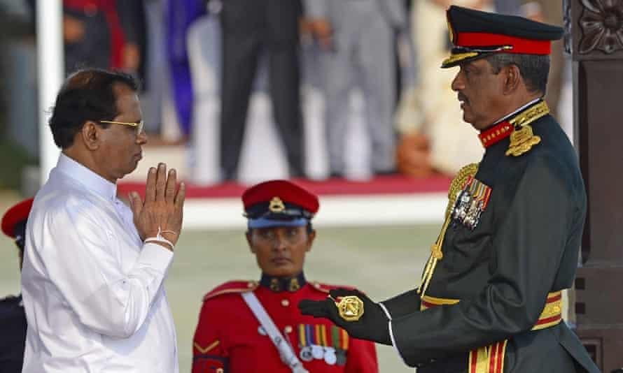 Sri Lanka's President Maithripala Sirisena confers the honorary military rank of field marshal on retired army general and defeated presidential candidate Sarath Fonseka.