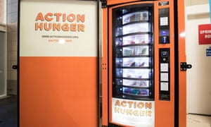 The first vending machine for the homeless, set up by the charity Action Hunger in the Broad Marsh Shopping Centre, Nottingham.