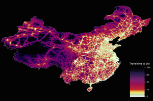 Graphic showing travel time to cities in China to assess inequalities in accessibility.