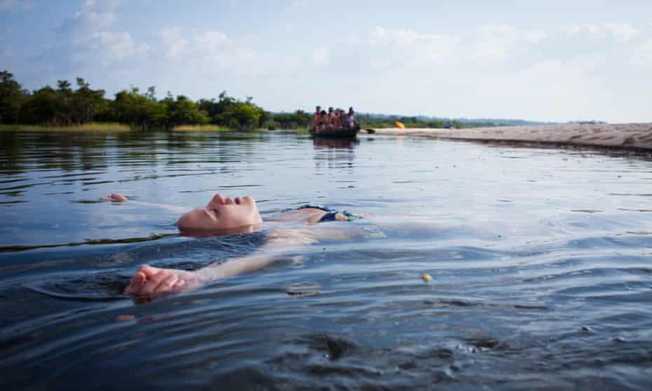 Relaxing in the Tapajós at Jamaraquá.