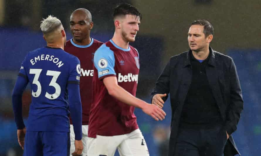 Frank Lampard tried to shake hands with Declan Rice after Chelsea's game against West Ham in December.