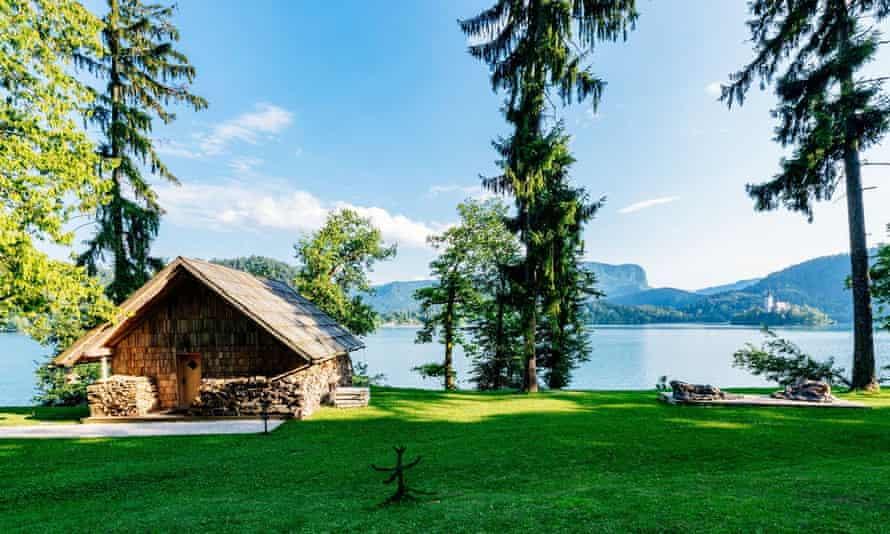 Lake Bled private beach, Slovenia.