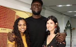 Stormzy with the winning writers Hafsa Zayyan (left) and Monika Radojevic.