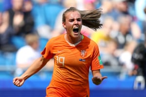 And celebrates scoring for the winner for the Netherlands.