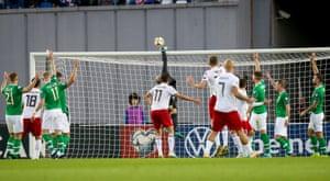 Ireland's Darren Randolph makes a save.