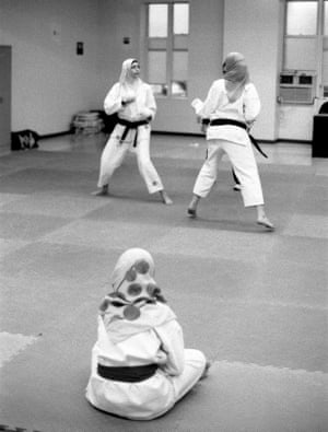Young women at a karate class in Brooklyn, 2011