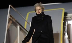 Theresa May lands at Andrews air force base near Washington on Thursday night.