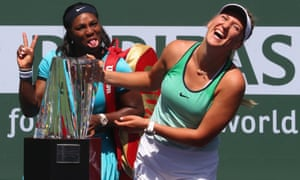 Victoria Azarenka laughs with the Serena Williams after their final.