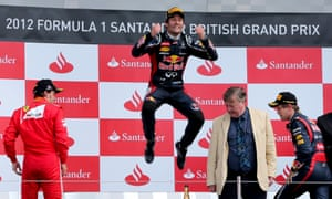 Mark Webber on the podium after winning the 2012 British Grand Prix at the Silverstone.
