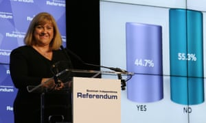 The chief counting officer Mary Pitcaithly reveals the final result of last year's Scottish independence referendum.