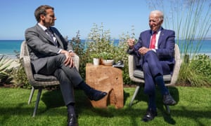 Joe Biden and Emmanuel Macron attend a bilateral meeting during the G7 summit in Carbis Bay, Cornwall.
