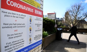 A sign outside a hospital testing for coronavirus in London
