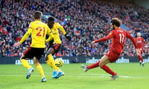 Mohamed Salah scores Liverpool's first goal against Watford on the counterattack.