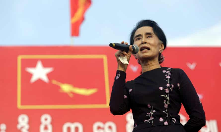 Aung San Suu Kyi delivers a speech at a rally in Yangon. Major political parties have intensified campaigning ahead of the 8 November election.