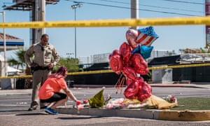 A makeshift memorial on Las Vegas Boulevard near the Mandalay Bay hotel.