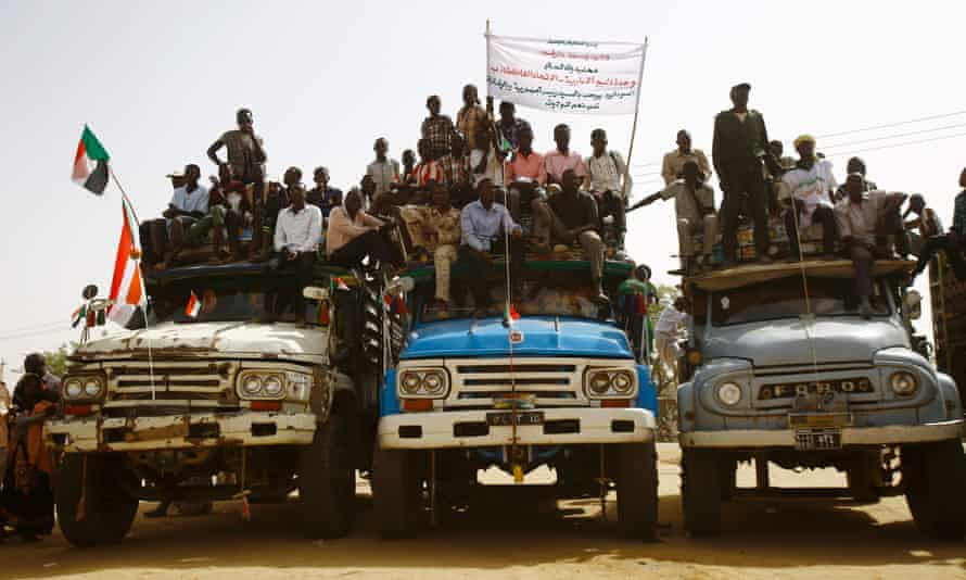 Residents assemble to see Omar al-Bashir speak during a controversial tour of Darfur's five states.
