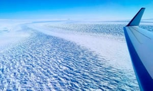 A Nasa handout photo obtained 29 March 2020 shows ripples in the surface of Denman Glacier in East Antarctica.