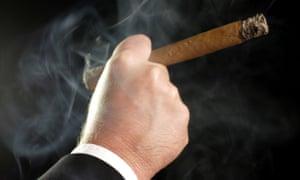 Fat cat businessman smoking a large cigar.