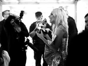 Lady Gaga backstage with her award
