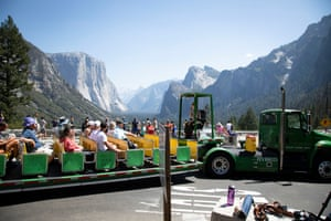 Tourists at Yosemite national park.