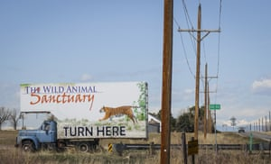 Signage for the Wild Animal Sanctuary in Keenesburg, Colorado, where 39 tigers rescued from Joe Exotic's GW Exotic Animal Park currently reside