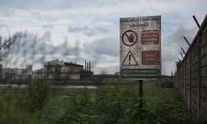 Warning sign at Dibombari plantation
