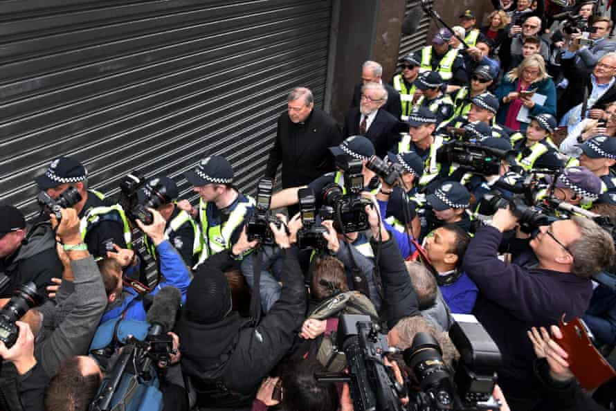 Pell and his lawyers leave Melbourne magistrates court in 2017