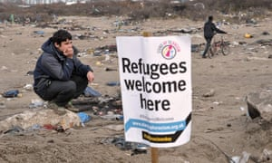 """A refugee in the """"Jungle"""" in Calais."""