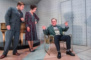 Kevin Bishop, Claudie Blakley and Harry Enfield in Once in a Lifetime at the Young Vic.