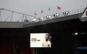 Bramall Lane displays a tribute to former England player Nobby Stiles MBE.