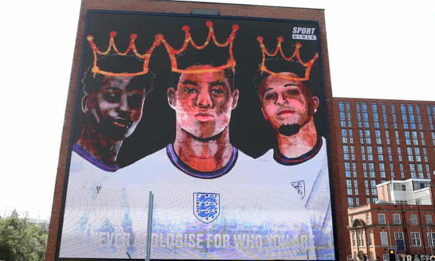 A mural at Trafford Park, Manchester, in support of the three England footballers targeted with racist abuse