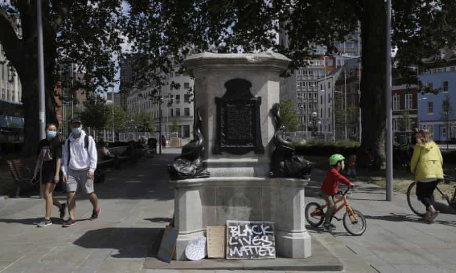 The empty plinth in Bristol, England, where the statue of the slave trader Edward Colston once stood