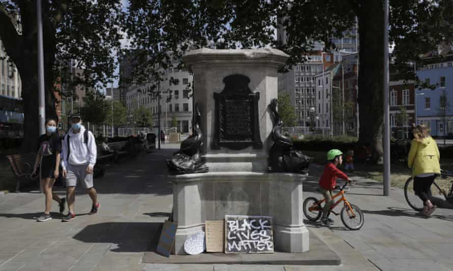 The empty plinth left after the statue of slave trader Edward Colston was pulled down in Bristol, June 2020