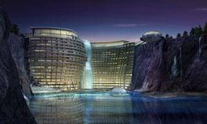 Khách sạn mỏ đá Thượng Hải sẽ có hai tầng dưới nước.