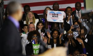 Obama addressed a crowd at an earlier rally in Newark, New Jersey, on Thursday.